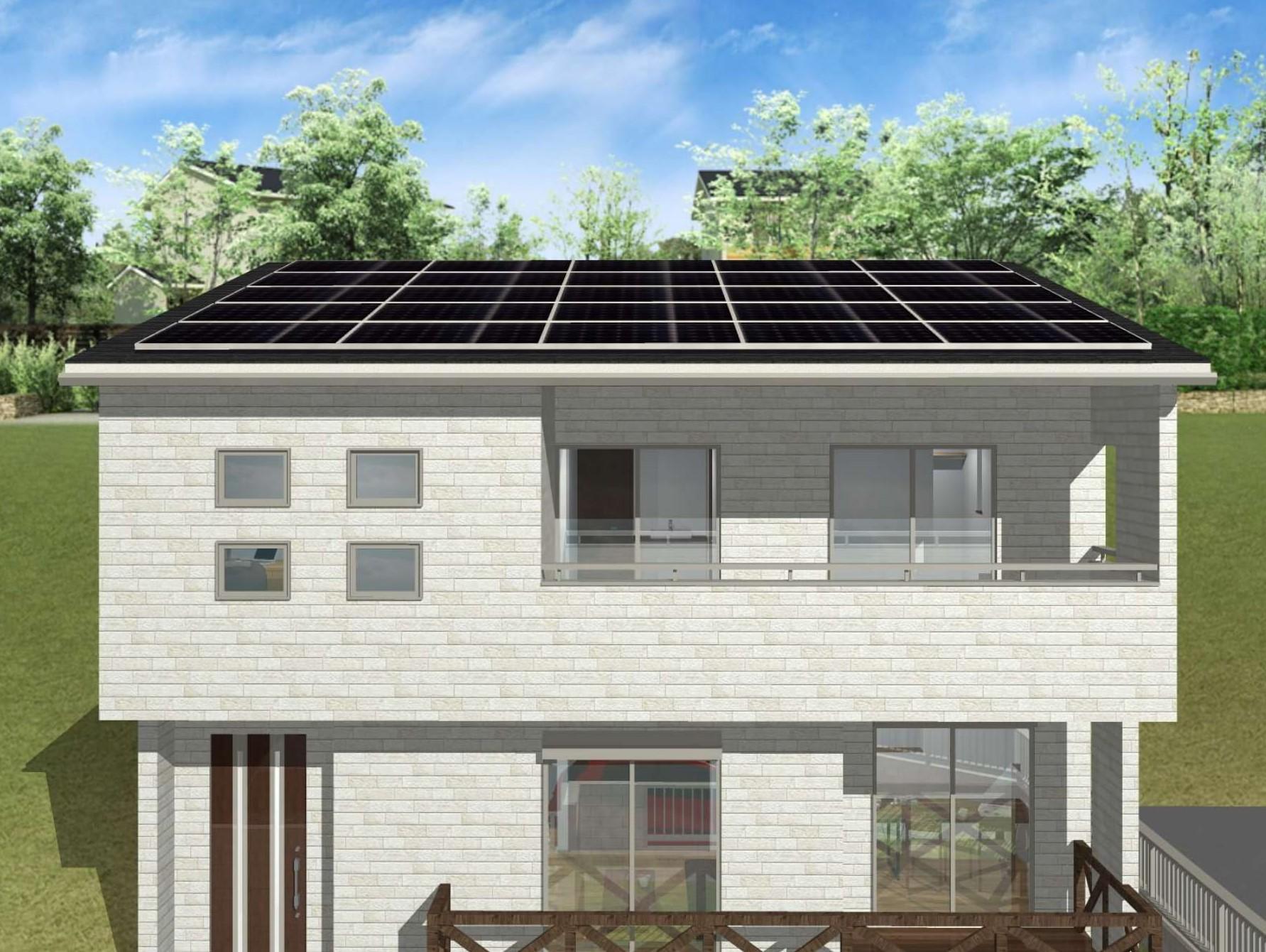 屋根には太陽光パネル設置